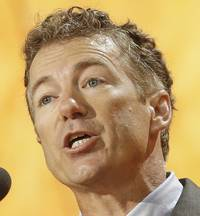 Republican presidential candidate U.S. Sen. Rand Paul (R-KY) makes a point while speaking to supporters during a campaign stop in Las Vegas at the Desert Vista Community Center in Sun City Summerlin on Saturday, April, 11, 2015.