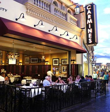 At 28,000 square feet, newly opened Italian eatery Carmine's at the Forum Shops of Caesars Palace claims the title of the largest non-nightclub restaurant on the Strip. Over the past year, owners Alicart Restaurant Group transformed the space into a two-level, 800-seat dining space.