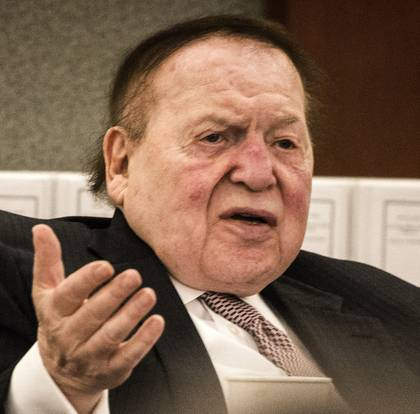 Las Vegas Sands Corp. CEO Sheldon Adelson speaks at the Global Gaming Expo on Wednesday, Oct. 1, 2014, in Las Vegas.