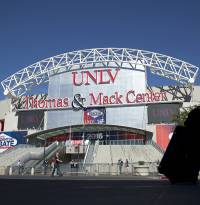 The UNLV basketball program is hoping to enhance its home-court edge at the Thomas & Mack Center. Media seating behind the basket on the ...