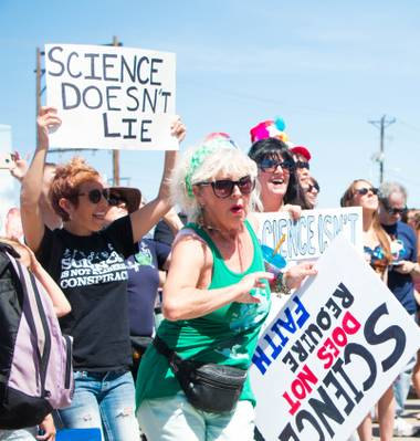 "The rowdy, sign-toting crowd at the Arts District Saturday morning for the March for Science stayed true to its protest cry: ""Science not silence!"" ..."