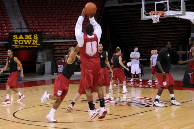 UNLV senior guard Wink Adams fires a shot during a post-practice scrimmage earlier this week at the Thomas & Mack Center. Adams enters his final season as the Rebels' 13th all-time leading scorer with a realistic chance to climb as high as second once this year is through, but he doesn't mind flying under the radar on the national scene.