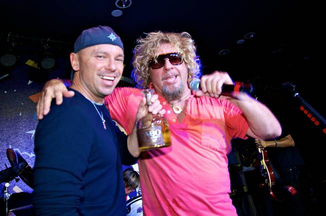 Kenny Chesney and Sammy Hagar at Sammy's grand opening of Cabo Wabo Cantina at Planet Hollywood's Miracle Mile on Dec. 4, 2009.