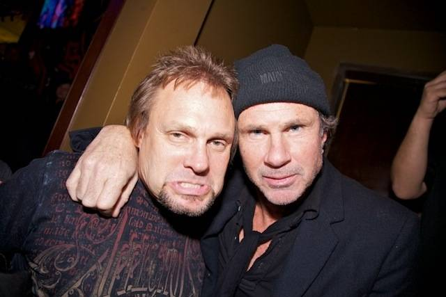 Michael Anthony and Chad Smith at Sammy Hagar's grand opening of Cabo Wabo Cantina at Planet Hollywood's Miracle Mile on Dec. 4, 2009.