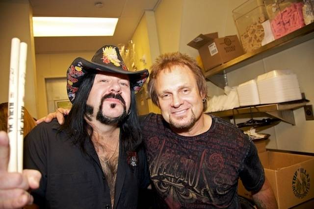 Vinnie Paul and Michael Anthony at Sammy Hagar's grand opening of Cabo Wabo Cantina at Planet Hollywood's Miracle Mile on Dec. 4, 2009.
