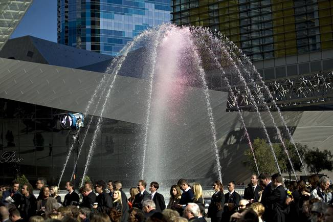 The water feature outside Aria makes a grand display during the opening ceremony for Aria at CityCenter in Las Vegas on Wednesday, Dec. 16, 2009.