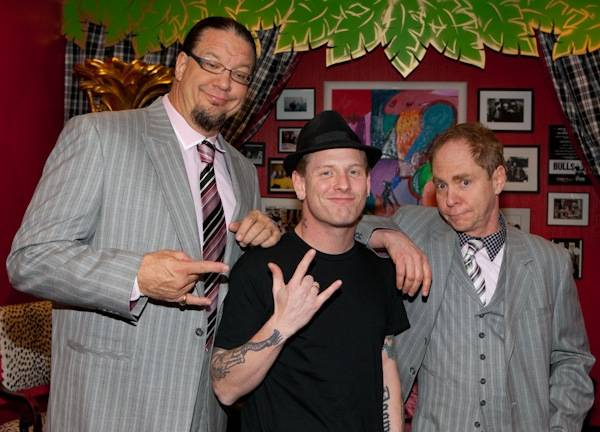 Slipknot lead singer Corey Taylor visits with Penn & Teller before they perform at The Penn & Teller Theater in The Rio on Dec. 29, 2009.