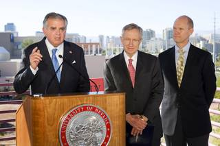 U.S. Secretary of Transportation Ray LaHood speaks during a news conference at UNLV Wednesday, October 13, 2010. With LaHood are Senate Majority Leader Harry Reid and Tom Skancke, president and CEO of The Skancke Company, a transportation consulting company. LaHood and Reid announced specifics of a federal loan guarantee program for a public-private partnership to expedite development of the DesertXpress high-speed rail system between Las Vegas and Victorville, Calif.