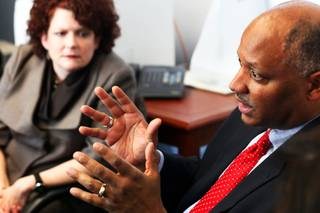 Clark County School District superintendent Dwight D. Jones talks as First Lady Kathleen Sandoval listens during a tour of Whitney Elementary School Thursday, March 10, 2011.  The school wants to create an after-school program similar to Sandoval's nonprofit, Children's Cabinet in Reno.