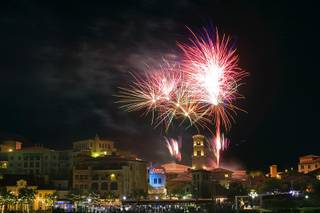 Fireworks explode over MonteLago Village during the grand re-opening of the Casino MonteLago at Lake Las Vegas Thursday, May 26, 2011.