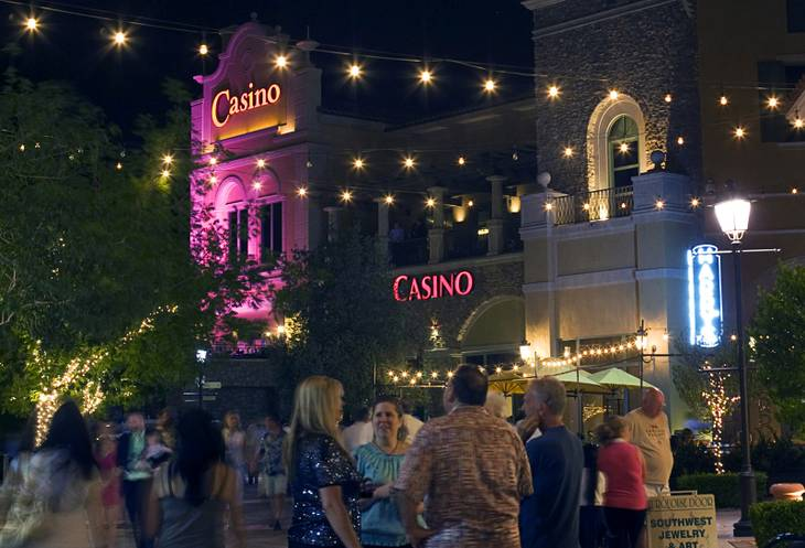 People browse the streets of MonteLago Village during the grand reopening of Casino MonteLago at Lake Las Vegas on Thursday, May 26, 2011.