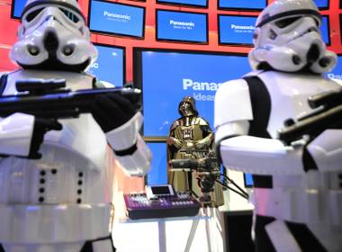 In this photograph taken by AP Images for Panasonic, Darth Vader arrives to help announce the upcoming release of Star Wars: The Complete Saga on Blu-ray at the Panasonic CES 2011 booth in Las Vegas on Thursday, Jan. 6, 2011.