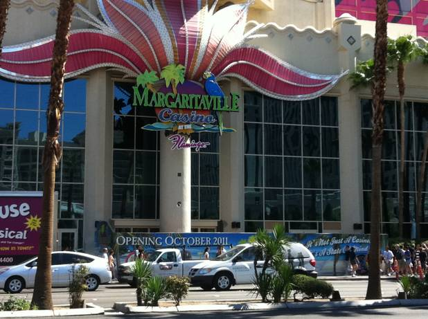 A view of the new Margaritaville casino sign hanging outside the Flamingo. The sign went up the week of Sept. 19. The casino is scheduled to open Oct. 1.