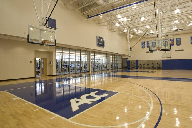 A look at the basketball practice facility at Duke's Michael W. Krzyzewski Center.