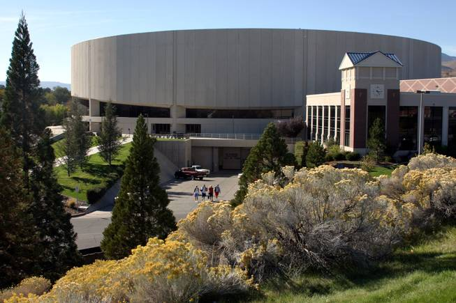 A look at the exterior of the Lawlor Events Center at the University of Nevada, Reno.