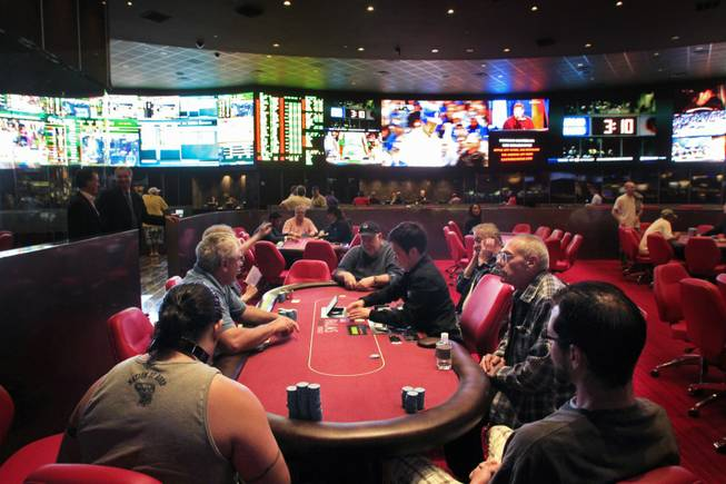 This is the new race and sports book with attached poker room at the Palms Friday, May 4, 2012.