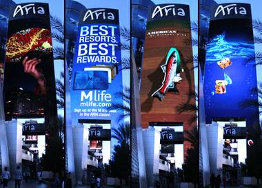 The new oversized marquee at Aria.