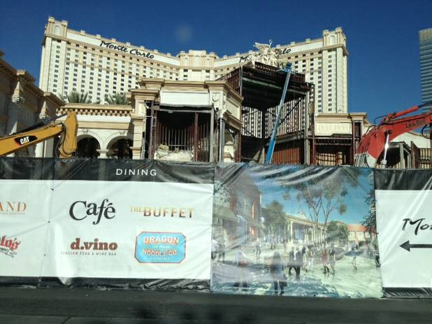 Construction crews demolish the European facade and fountain of the Monte Carlo's North Entrance on June 6, 2013.