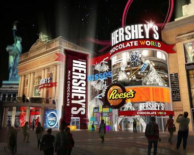 An artist's rendering shows the exterior of Hershey's Chocolate World at New York-New York. It is planned as part of a project to turn the sidewalk between New York-New York and the Monte Carlo into a lead-in to a planned 20,000-seat arena filled with food and entertainment.