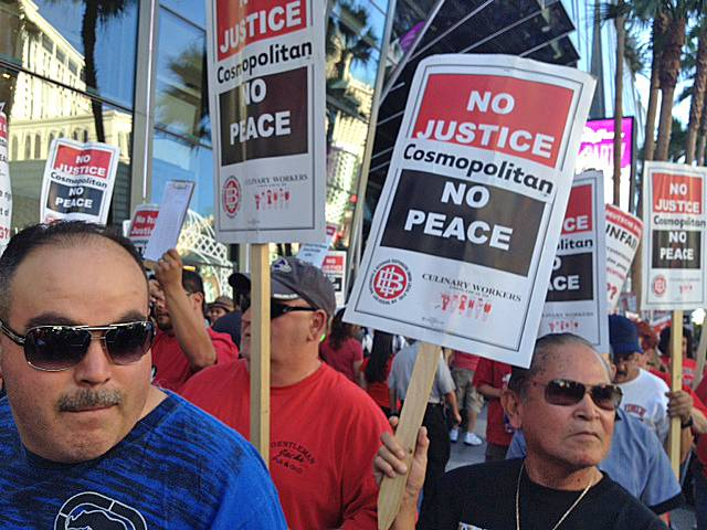 Workers picket outside Cosmopolitan over the lack of a union contract, Friday, June 14, 2013.
