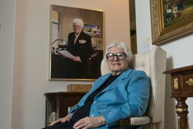 Selma Bartlett, sitting in her Henderson home, was one of the first female banking officers in Nevada and the state's first female branch manager.