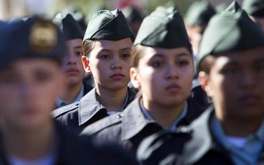 Valley High School junior R.O.T.C. members march in the annual Veterans Day parade in downtown Las Vegas Monday, Nov. 11, 2013.