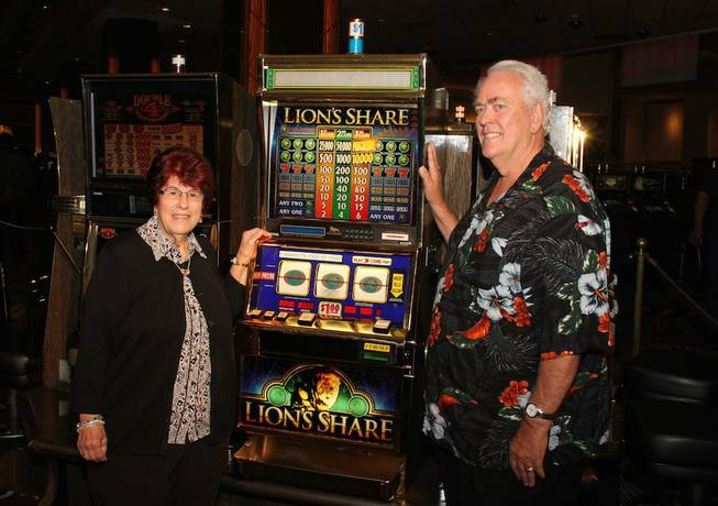 Linda and Walter Misco of Chester, N.H., won the $2.4 million jackpot from the legendary Lion's Share slot machine at MGM Grand on Friday, Aug. 22, 2014, on the Strip. The jackpot had not been won in 20 years.