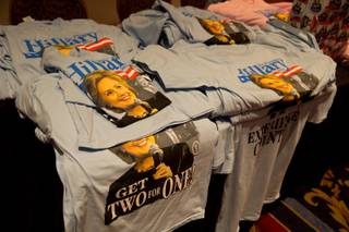 Hillary T-Shirts for sale at the state Democratic Party convention at Paris Hotel and Casino, Las Vegas, Saturday May 14, 2016.
