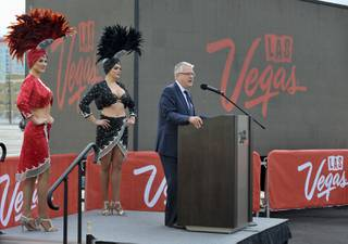 Terry Jicinsky, LVCVA senior vice president of operations, speaks during the Jan. 4, 2017 ribbon-cutting of the Diamond Lot, a new parking and outdoor exhibition space, which finalizes Phase I of the Las Vegas Convention Center District (LVCCD) project.