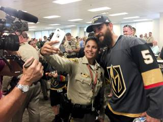 Golden Knights players visit Metro Police headquarters to offer their support Tuesday, Oct. 3, 2017. Players Jon Merrill, Jason Garrison, William Karlsson, Griffin Reinhardt, Erik Haula, Engelland and others made three trips, starting with Metro Police headquarters. Golden Knights player pictured is Deryk Engelland (5).
