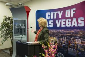 Las Vegas Mayor Carolyn Goodman speaks to the media during ...