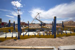 Construction continues at the site of the Raiders Stadium in Las Vegas, Thursday, April 19, 2018.
