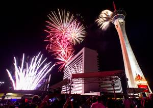 Fireworks light up the sky during the Stratospheres Independence Day ...