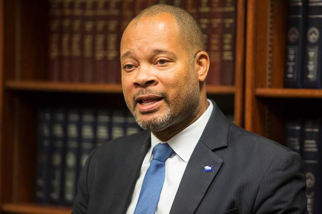 Nevada Attorney General-elect Aaron Ford speaks to the press regarding the upcoming transition of office from Adam Laxalt, Monday Dec. 17, 2018.