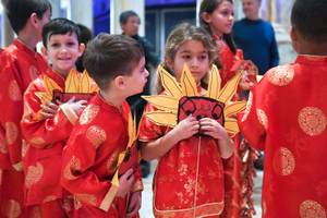 Students from the Meadows School wait to help kick off Chinese New Year and welcome the Year of the Pig with a dragon parade through the Forum Shops at Caesars Tuesday, February 5, 2019.