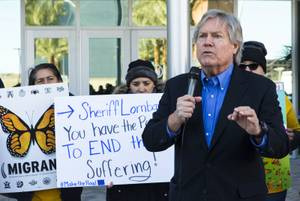 Clark County Commissioner Tick Segerblom speaks during a gathering outside of Metro Police headquarters in Las Vegas on Thursday, Feb. 7, 2019. Community members spoke out to demand answers from Sheriff Joe Lombardo about LVMPD's agreement with ICE. .