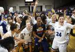 Centennial Bulldogs girls basketball players celebrate after defeating Bishop Gorman High School for their fifth consecutive title during the Class 4A high school basketball championship at the Orleans Arena Friday, March 1, 2019.