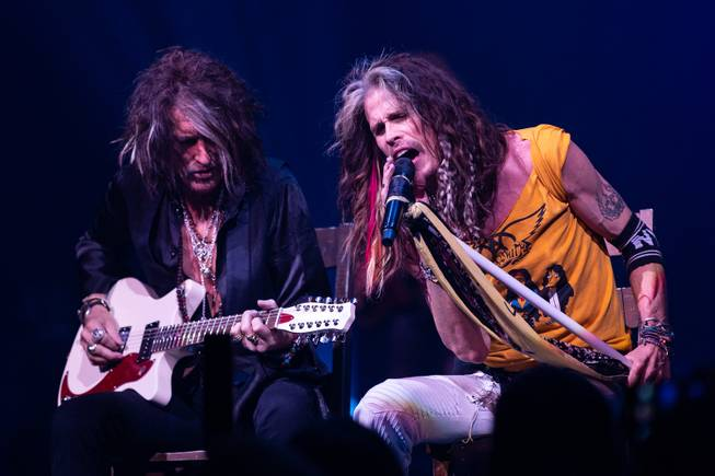 Aerosmith performs at Park Theater for the launch of their residency Saturday, April 10, 2019.