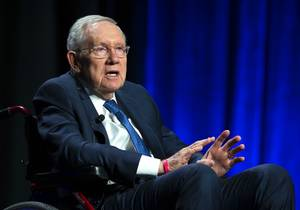 Former Senate Majority Leader Harry Reid speaks before a panel discussion with former Speaker of the House John Boehner at the Bellagio Tuesday, April 23, 2019. The panel was part of the inaugural symposium of the MGM Resorts Public Policy Institute at UNLV.