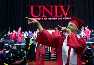 Business major Mitchell Deas celebrates during UNLV commencement at the Thomas & Mack Center Saturday, May 18, 2019. Graduates, about 3,000, ranged in age from 18 to 71 and came from across the U.S. and from 50 foreign countries.