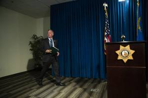 Clark County Sheriff Joe Lombardo arrives to a press conference ...