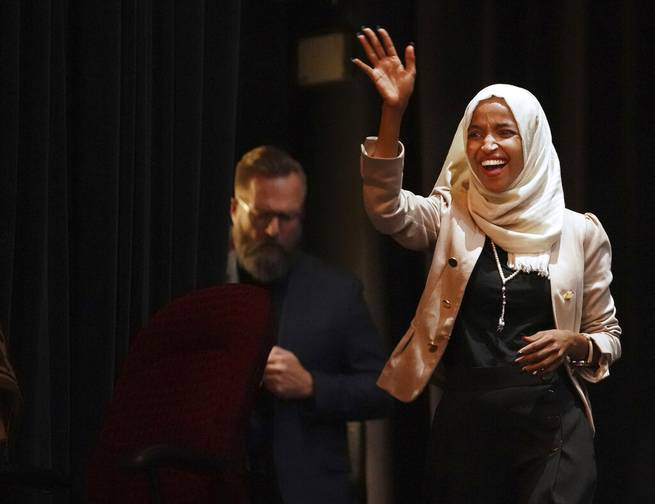 U.S. Rep. Ilhan Omar, D-Minn., holds a Medicare for All town hall with Rep. Pramila Jayapal, D-Wash., (not pictured) and other state lawmakers, Thursday, July 18, 2019, in Minneapolis.