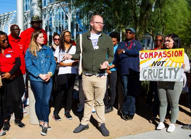 Wesley Juhl, communications manager of the ACLU of Nevada, speaks during a protest in response to a proposed city ordinance outside of Las Vegas City Hall on Wednesday, Oct. 2, 2019. The proposed ordinance would make homeless encampments illegal if beds are available through the city or nonprofit organizations. Miranda Alam/Special to the Sun