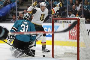 Vegas Golden Knights' Brayden McNabb (3) celebrates after scoring a goal against San Jose Sharks goalie Martin Jones (31) during the second period of an NHL hockey game Friday, Oct. 4, 2019, in San Jose, Calif.