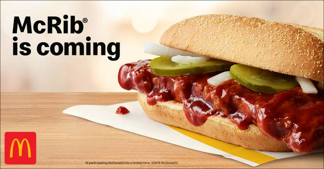 It's back: McDonald's to serve McRib in Las Vegas starting Oct. 14 ...