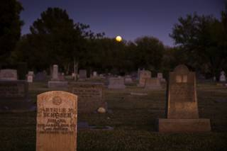 Gravestones are pictured in the designated burial space for the Jewish community at Woodlawn Cemetery in downtown Las Vegas, Saturday, Oct. 12, 2019.