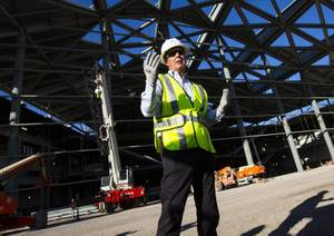 Terry Miller of Cordell Corporation, LLC speaks to media during a tour of the construction site where the expansion of the Las Vegas Convention Center is underway in Las Vegas on Thursday, Oct. 24, 2019.
