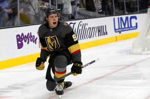 Vegas Golden Knights center Cody Glass (9) celebrates a goal during the third period of a game against the Montreal Canadiens at T-Mobile Arena Thursday, Oct. 31, 2019.