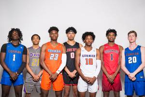 Players of the Las Vegas Sun's Super Seven boys preseason all-city basketball team, from left Will McClendon, Tone Hunter, Mwani Wilkinson, Julian Strawther, Zaon Collins, Jaden Hardy and Noah Taitz, take a portrait during the Las Vegas Sun's High School Basketball Media Day at the Red Rock Resort and Casino, Oct. 28, 2019.