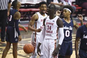 UNLV Rebels forward Cheikh Mbacke Diong (34) reacts after getting ...